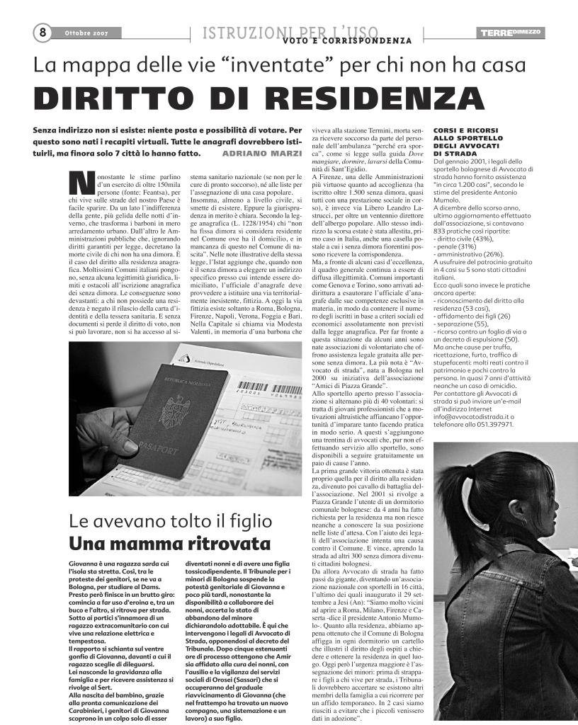 Diritto di residenza - Tdm 10-7