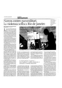 Narcos contro paramilitari, la violenza soffoca Rio - il manifesto 1-7