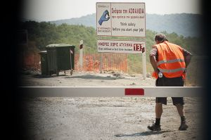A worker in Eldorado site, Skouries forest