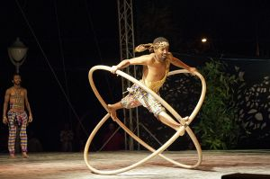 Fekat Circus performing on the Festival stage