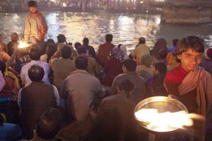 During the Ganga Aarti in Haridwar