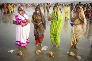 Every year on the day of Makar Sankranti (14 January), hundreds of thousands of Hindus gather to take a holy dip at Gangasagar, where Ganges river come into Bay of Bengal