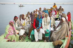 Hindu pilgrims on Ganges river at Varanasi