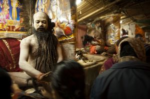 Sadhu blessing people during Makar Sankranti at Gangasagar