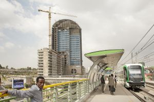 The new Addis Ababa light train at Stadium station