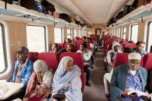Passengers on the new Addis-Gibuti train
