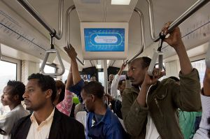 Passengers on the new Addis Abeba light train