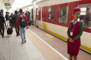 Ethiopian railway staff working on the new Addis-Gibuti train