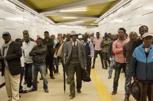 People waiting the new Addis Ababa light train at Menelik II underground station