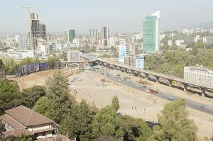 The two lines of the Addis Ababa light train merge at Meskel square, main city square