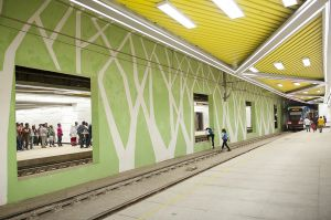 People waiting the new Addis Ababa light train at Menelik II square underground station