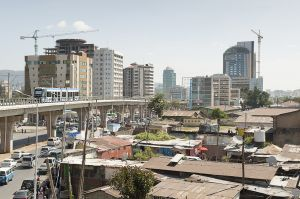 The new Addis Ababa light train running alongside Lagare station
