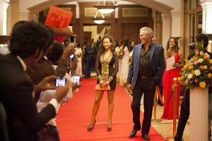 Ethiopian film stars Messeret Meberate and Zinahbzu Tsegaye at a film premiere at the Sheraton Hotel in Addis Ababa