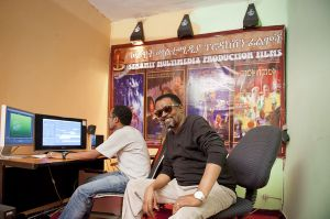 The Ethiopian film actor and producer Sarawit Fikr in his company's studios. Fikr is today one of the best know actors and producers in the country