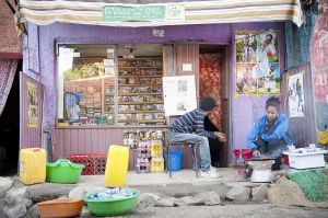 A film shop in the Piassa area of Addis Ababa. Many film shops use to have a small screening room in their backyard, where movies (in pirated copies) could be watched for very cheap entry fees