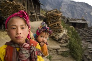 Tamang children in Thuman village