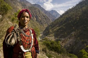Tamang woman and landslide in Bhote Koshi valley