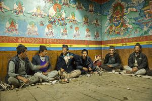 Tamang people at the Thulo Syaphru temple